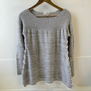 Knox Rose sweater cozy gray ribbed tie up sides M